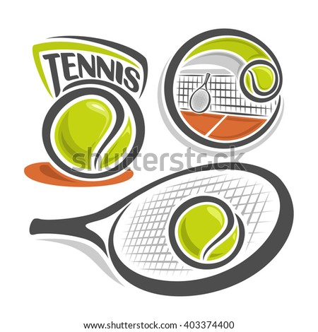 Vector illustration of the logo for icon club lawn tennis, consisting of green ball, net on brown court with isolated tennis racket and ball, racquet closeup on white background