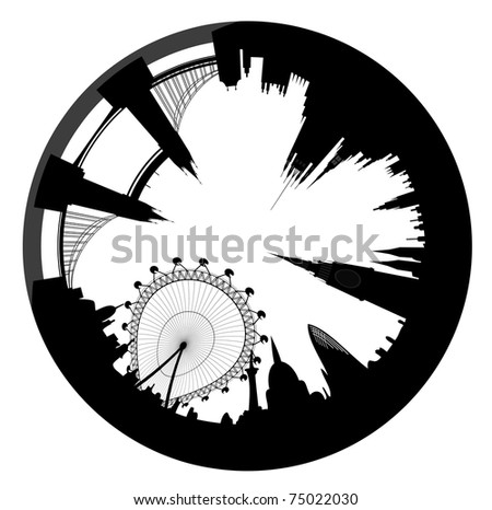 Vector illustration of the London skyline looks like ring