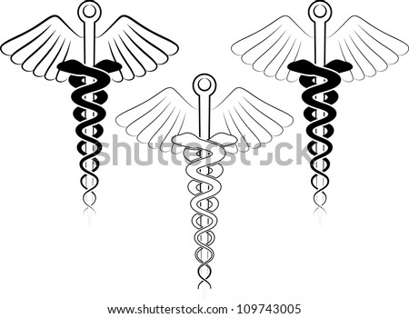 vector illustration of the medical symbol - esculap - stock vector