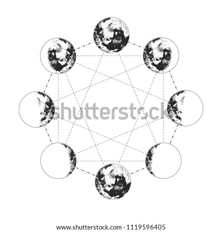 Vector illustration of the moon phases set in hexagon. Different stages of moonlight activity in vintage engraving monochrome hand drawn style.