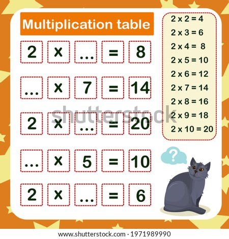 vector illustration of the multiplication table by 2 with a task to consolidate the knowledge of multiplication Foto d'archivio ©