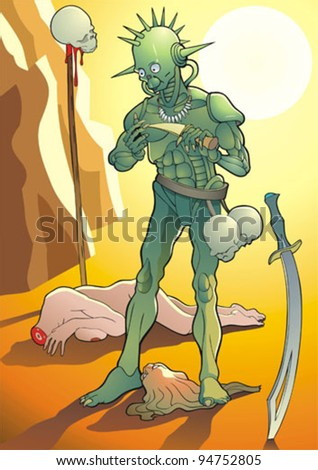 Vector illustration of the murderer and its victim. - stock vector