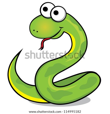 Vector illustration of the nice green snake.