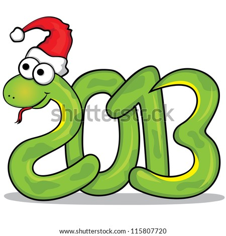 Vector illustration of the nice green snake with red cap. 2013 year