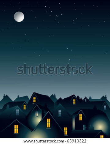 vector illustration of the night sky with a full moon over urban rooftops in eps10 format