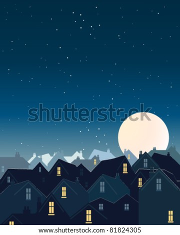 vector illustration of the night sky with stars and a big full harvest moon over roof tops in eps 10 format