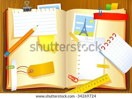 Vector illustration of the notebook - stock vector
