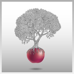Vector illustration of the old apple tree growing out of a red apple on a light gray background