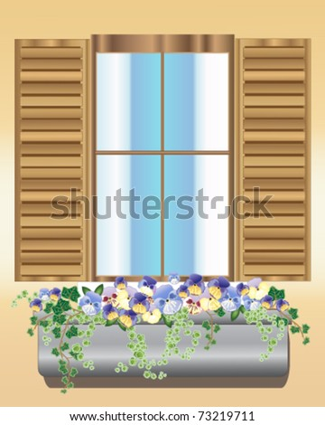 vector illustration of the outside of a window with wooden shutters and window-box full of flowering pansy plants in eps 10 format