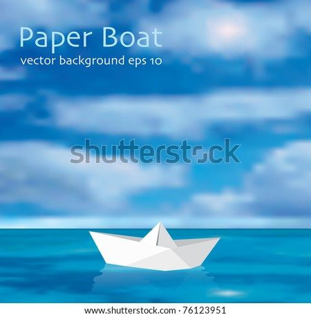 vector illustration of the paper boat on the ocean