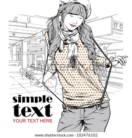 Vector illustration of the pretty girl at subway station. Place for your text.