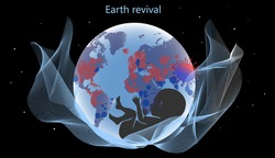 Vector illustration of the rebirth of the earth. World fight against coronavirus (Covid-2019). Illustration of planet Earth with continents, a fetus of a child and marks of infected places.