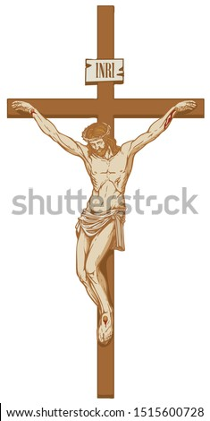Vector illustration of the religious symbol crucifixion. Jesus Christ, the Son of God in a crown of thorns on his head, a Catholic symbol. Cross with crucifix and inscription INRI Stock photo ©
