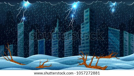 vector illustration of the scene with thunderstorm over the building and flooding