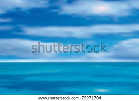 vector illustration of the sea and cloudy sky
