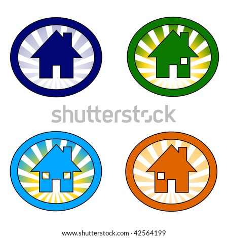 vector illustration of the set of four house icon variations