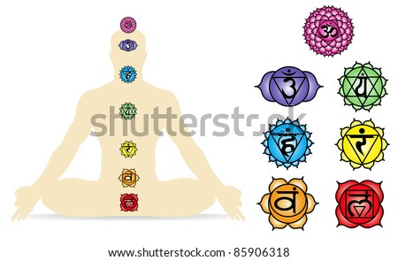 Vector illustration of the seven Chakra