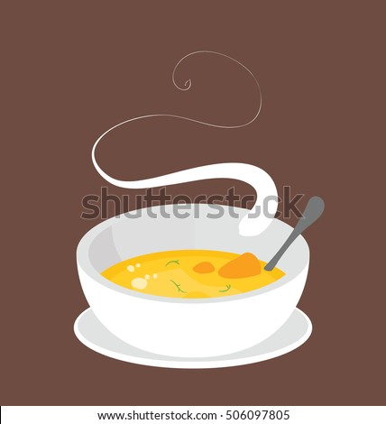 Vector illustration of the single bowl of the pumpkin soup in the single white bowl. Simple portion of the steaming modern vegan food on the brown background. Big copy space on the top of the image.