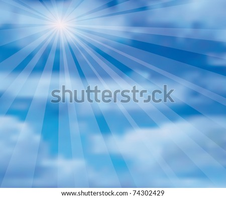 vector illustration of the sky with sun and clouds