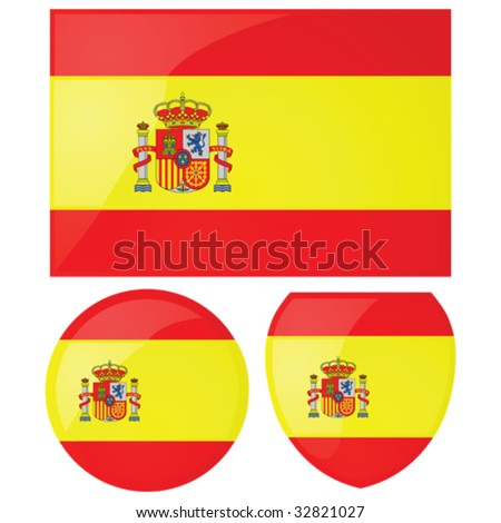 Vector illustration of the Spanish flag, alongside a round and shield emblems