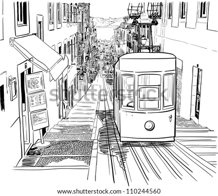 Vector illustration of the street drawn in sketch style on a white background. Quiet street with a tram in a Mediterranean town. Lisbon street.