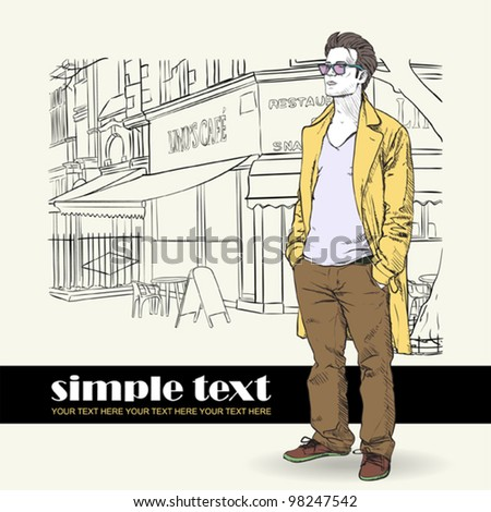 Vector illustration of the stylish guy in a coat on a street-cafe- background.