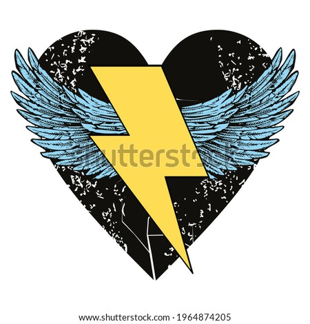 Vector illustration of the symbol of the lightning with wings on a black heart. Design for t-shirts, stickers or posters.  Foto stock ©