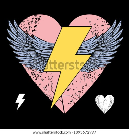 Vector illustration of the symbol of the lightning with wings on a pink heart. Design for t-shirts or posters. Foto stock ©