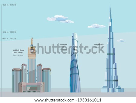 Vector Illustration of the three tallest buildings in the world completed until 2021 - Burj Khalifa in Dubai, Shanghai Tower and Makkah Royal Clock Tower in Saudi Arabia.