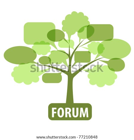 Vector illustration of the tree with speech bubbles as concept of the forum or blog. Forum Icon.