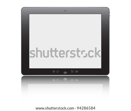 Vector illustration of the turned on computer tablet with reflection isolated on a white background, eps10 - stock vector
