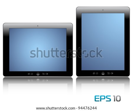 vector illustration of the turned on computer tablets with reflection isolated on a white background, eps 10