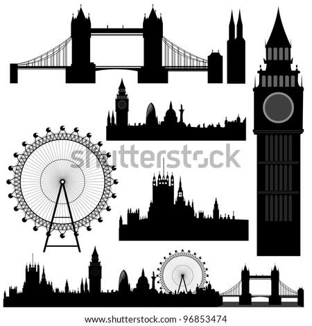 Vector illustration of the various landmarks of London