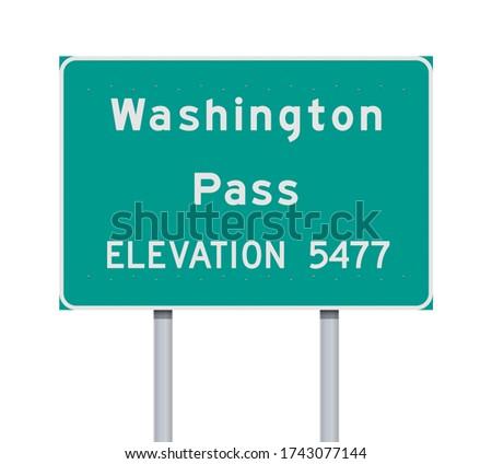Vector illustration of the Washington Pass road sign on metallic posts