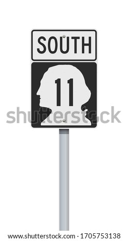 Vector illustration of the Washington State Highway road sign on metallic post