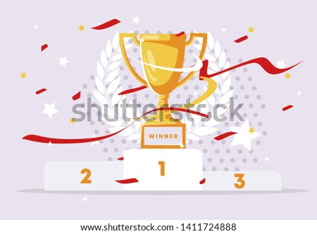 Vector illustration of the winners ' pedestal, champion Cup with confetti and ribbons, winner's wreath in the background
