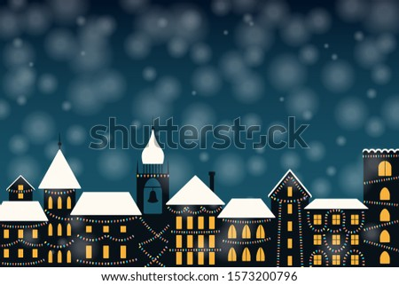 Vector illustration of the winter city skyline, with colorful lights, falling snow, place for text. Flat style design. Concept for holiday, Christmas, New Year background, card, poster, banner.