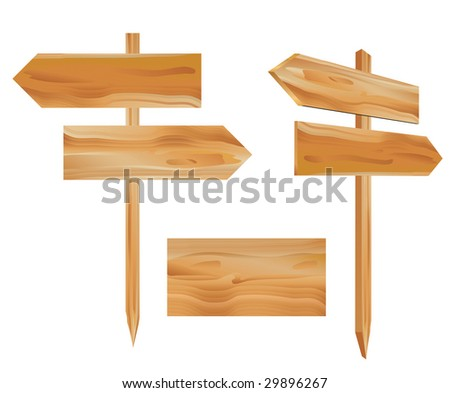 vector illustration of the wooden direction signs - stock vector