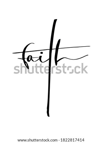 Vector illustration of the word faith forming a crucifix. Stock photo ©