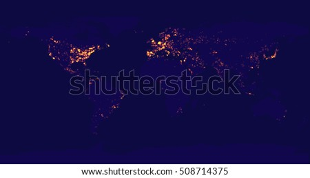 Most populated cities usa download free vector art stock vector illustration of the world map at night earths city lights are gumiabroncs Choice Image