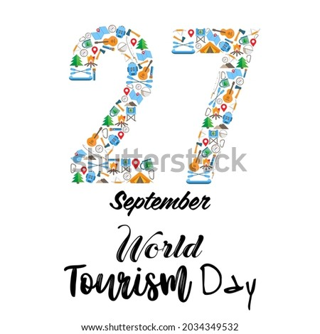 Vector illustration of the World Tourism Day. Domestic tourism,internal tourism, hiking, camping, glamping, mountain holidays