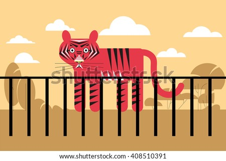 vector illustration of the zoo tiger in a cage