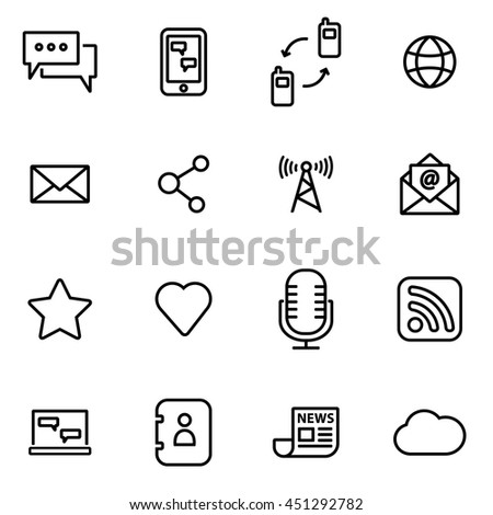 Vector illustration of thin line icons - communication