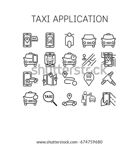 Vector illustration of thin line icons for Taxi application Linear symbols set 64*64 pixels