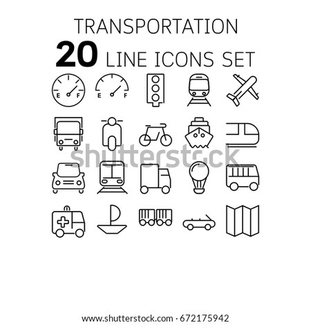 Vector illustration of thin line icons for Transportation Linear symbols set 64*64 pixels