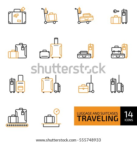 Vector illustration of thin line icons for travel Icons, baggage, suitcase and luggage. Linear and color symbols set.