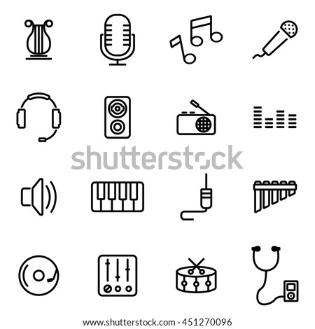 Vector illustration of thin line icons - music