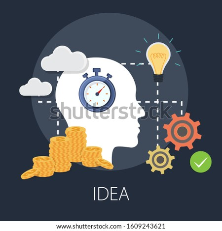 "Vector illustration of thinking and idea or solution concept with ""idea"" solution and idea concept."