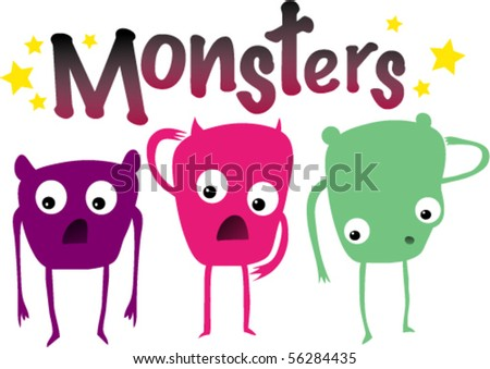 Vector illustration of three appalled monsters. - stock vector