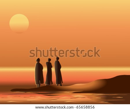 vector illustration of three arab men watching the sun set over the ocean in eps10 format